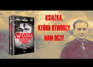 Stanisław Aronson i okładka książki Wojna nadejdzie jutro