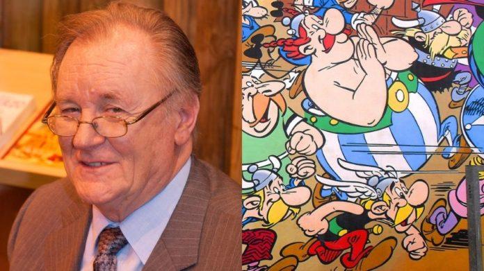 Albert Uderzo i mural przedstawiający bohaterów komiksów z serii Asterix i Obelix
